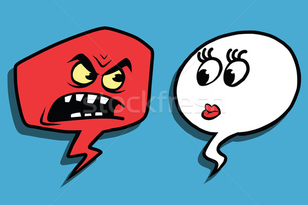 гнева комического пузыря лице человека женщину Сток-фото © rogistok