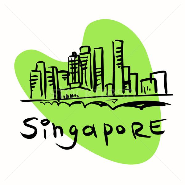 シンガポール 市 定型化された 画像 観光 旅行 ストックフォト © rogistok