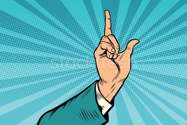 Wijsvinger omhoog gebaar pop art retro ontwerp Stockfoto © rogistok