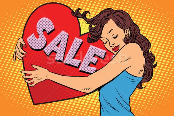 Güzel genç kadın satış valentine kalp Stok fotoğraf © rogistok