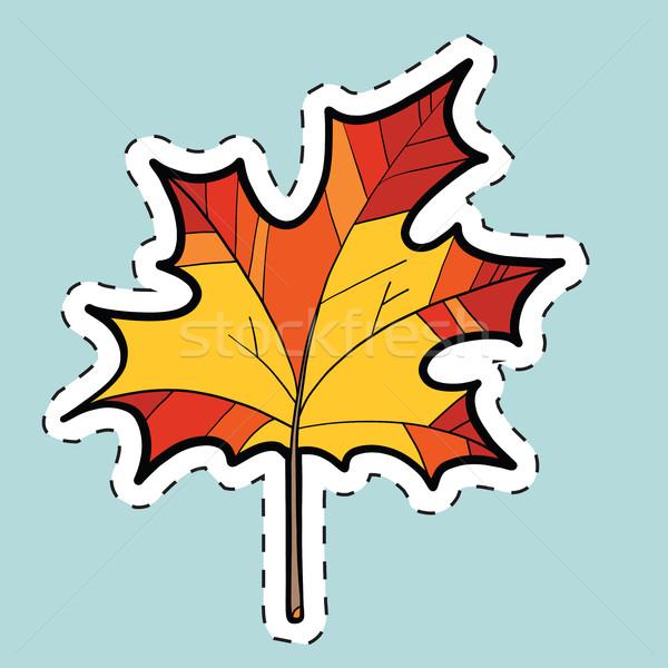 Automne feuille d'érable nature saisons étiquette vignette Photo stock © rogistok