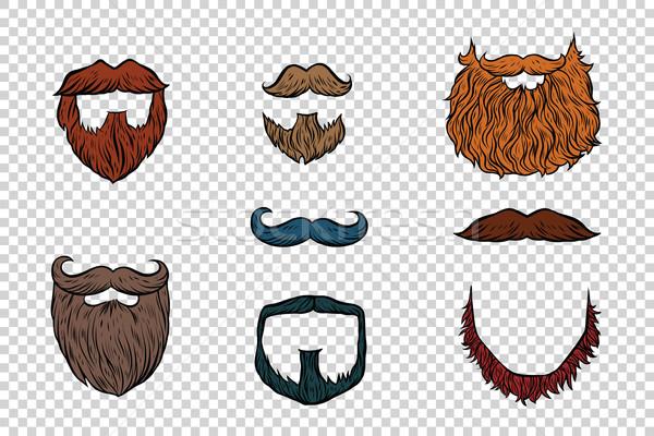 Elegáns szakáll bajusz szett gyűjtemény pop art Stock fotó © rogistok
