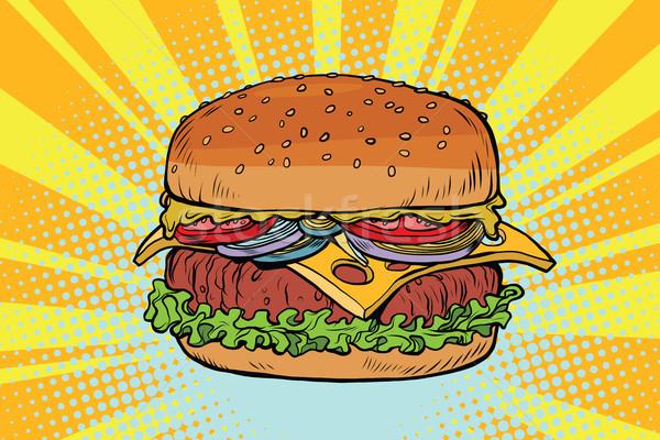 Rétro juteuse délicieux Burger viande salade Photo stock © rogistok