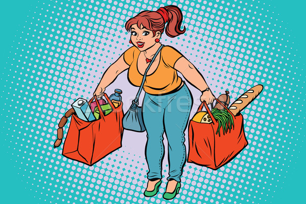 Young woman with grocery shopping Stock photo © rogistok