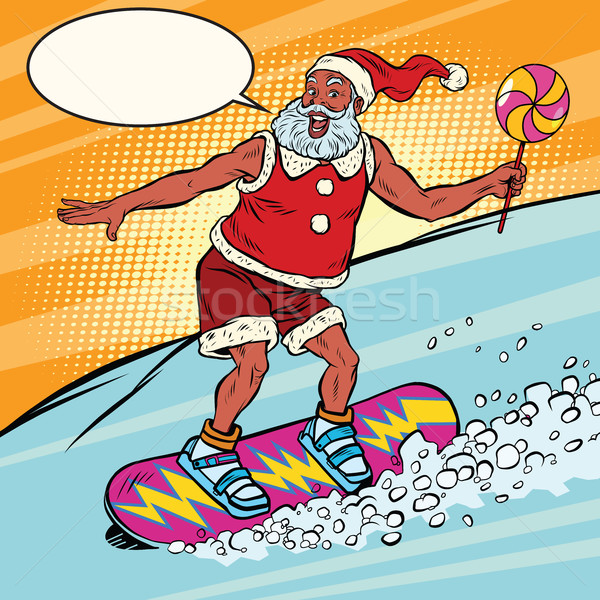 Modern Santa Claus rides on a snowboard Stock photo © rogistok