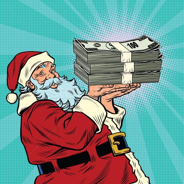 Noel baba para dolar pop art Retro Stok fotoğraf © rogistok
