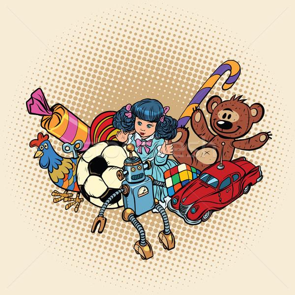 Horoz yıl ayarlamak Retro oyuncaklar pop art Stok fotoğraf © rogistok