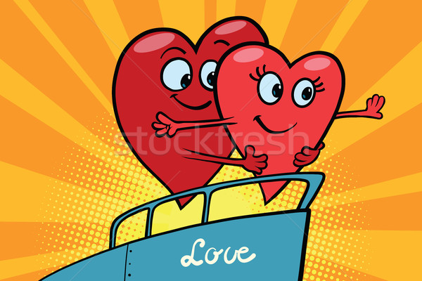 Love couple king of the world scene red hearts Valentines Stock photo © rogistok