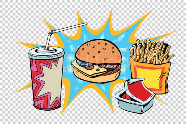 Fast-food conjunto burger fries beber molho Foto stock © rogistok