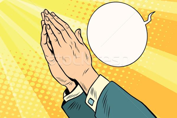 Men hands in prayer Stock photo © rogistok