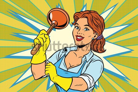 Stock photo: Redhead comics woman dries the hair dryer