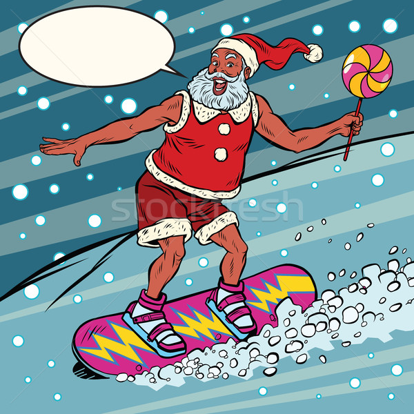 современных Дед Мороз сноуборд Поп-арт ретро Сток-фото © rogistok