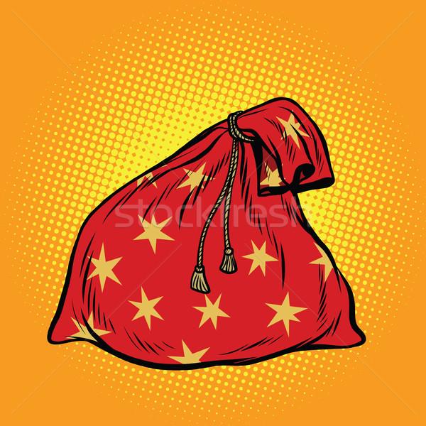 ストックフォト: クリスマス · ギフト · 袋 · サンタクロース · ポップアート · レトロな