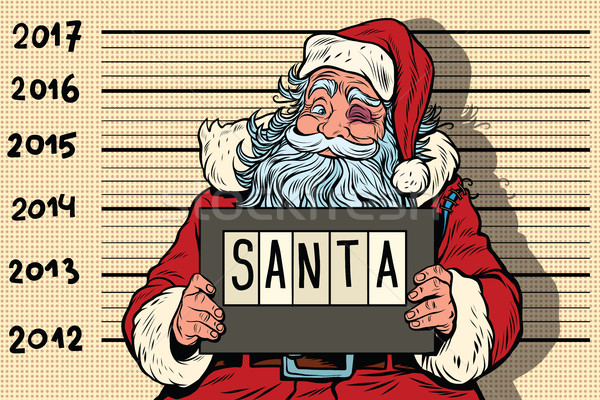 Crimineel kerstman gearresteerd nieuwjaar pop art retro Stockfoto © rogistok
