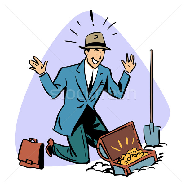 businessman found treasure business people concept character Stock photo © rogistok