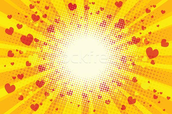 Valentine kalp pop art Retro örnek doku Stok fotoğraf © rogistok