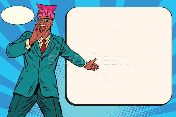 Politicus man retro pop art komische afro-amerikaanse Stockfoto © rogistok