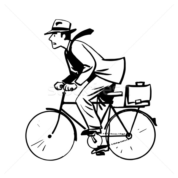businessman quickly rides Bicycle line art retro sketch Stock photo © rogistok