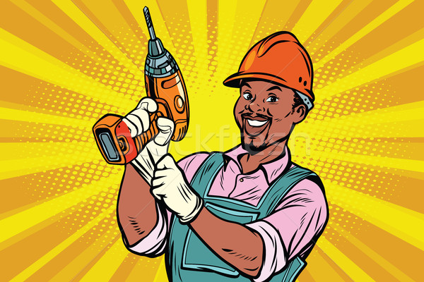 Costruzione african american lavoratore trapano riparazione Foto d'archivio © rogistok