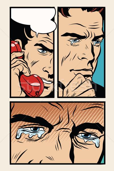 Komische man telefoon pop art retro menselijke Stockfoto © rogistok