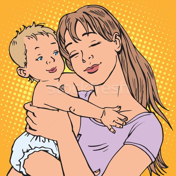 Jovem mãe bebê vetor retro Foto stock © rogistok