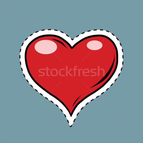 Red heart Valentine, pop art retro label sticker Stock photo © rogistok