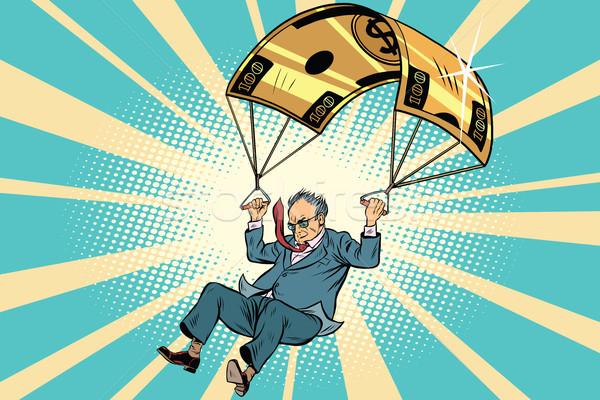 Idős személy arany ejtőernyő pénzügyi üzlet képregény Stock fotó © rogistok