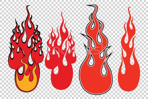 Láng tűz átláthatóság pop art retro háttér Stock fotó © rogistok