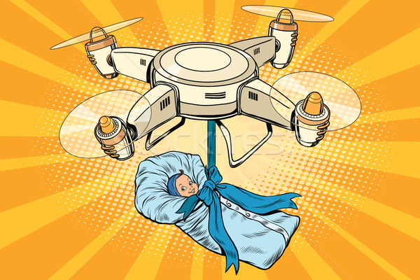 Drone quadcopter delivery of a newborn baby Stock photo © rogistok