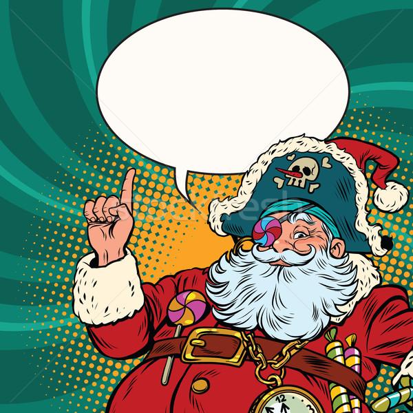 Noel baba korsan işaret jest pop art Stok fotoğraf © rogistok