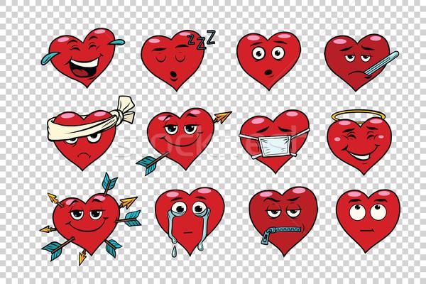 Rojo corazón San Valentín establecer caras Foto stock © rogistok