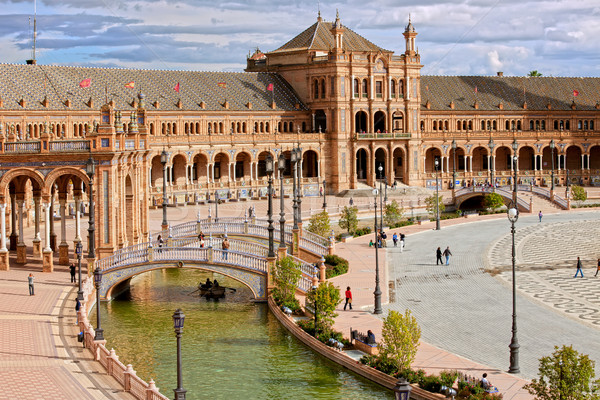 Vierkante Spanje herleving bouwkundig stijl architectuur Stockfoto © rognar