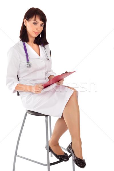 Vrouwelijke arts vergadering stoel jonge klaar Stockfoto © rognar