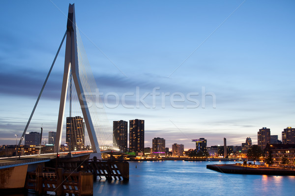 Cityscape of Rotterdam in the Evening Stock photo © rognar