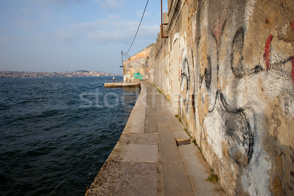 Vieux bord de l'eau rivière eau bâtiment graffitis Photo stock © rognar