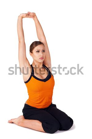 Woman doing Prenatal Yoga Exercise Stock photo © rognar