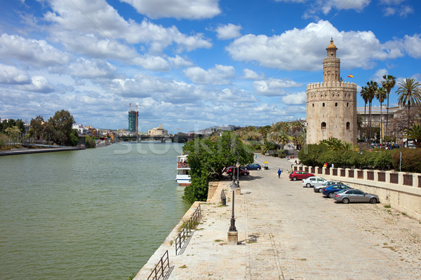 Guadalquivir River and Gold Tower in Seville Stock photo © rognar