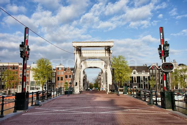Sovány híd Amszterdam holland folyó Hollandia Stock fotó © rognar