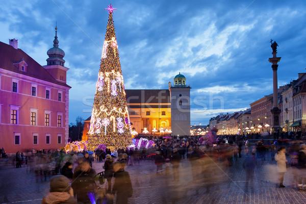 Christmas tijd Warschau kerstboom mensen kasteel Stockfoto © rognar