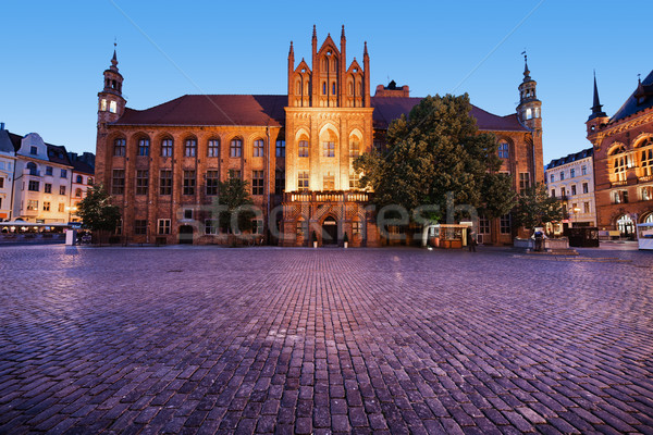 Town Hall in Torun at Dusk Stock photo © rognar