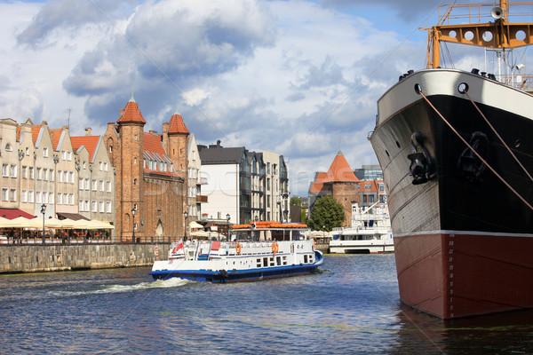 Ville gdansk Pologne scénique rivière eau Photo stock © rognar