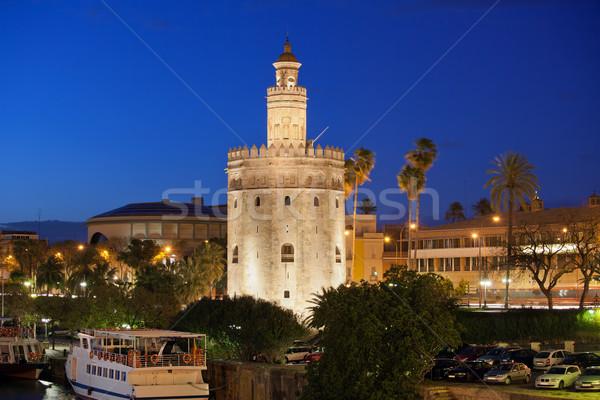 Torre del Oro at Night in Seville Stock photo © rognar
