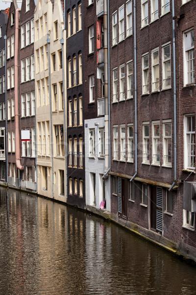 Huizen oude stad Amsterdam kanaal historisch Stockfoto © rognar