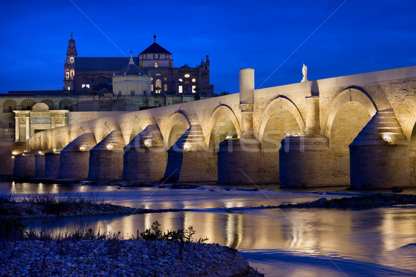 Roman Bridge and Mosque Cathedral in Cordoba Stock photo © rognar