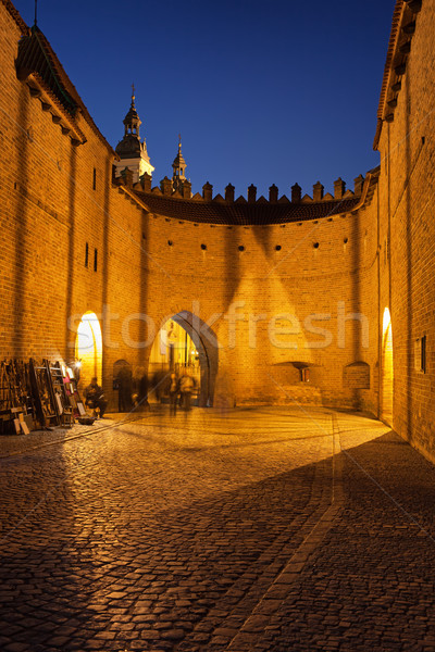 Barbican Fortification at Night in Warsaw Stock photo © rognar