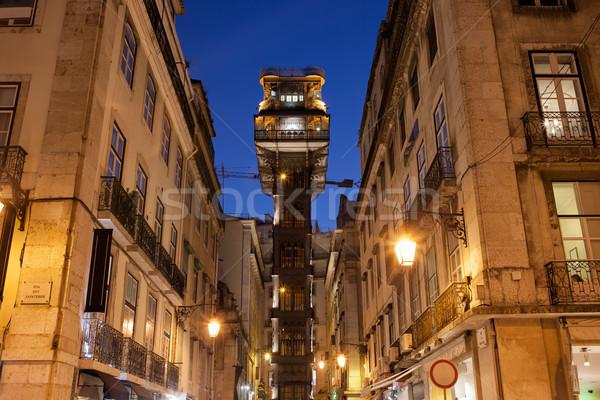Santa Justa Lift at Night Stock photo © rognar