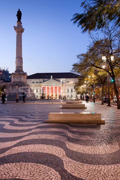 Cuadrados anochecer Lisboa columna teatro Foto stock © rognar