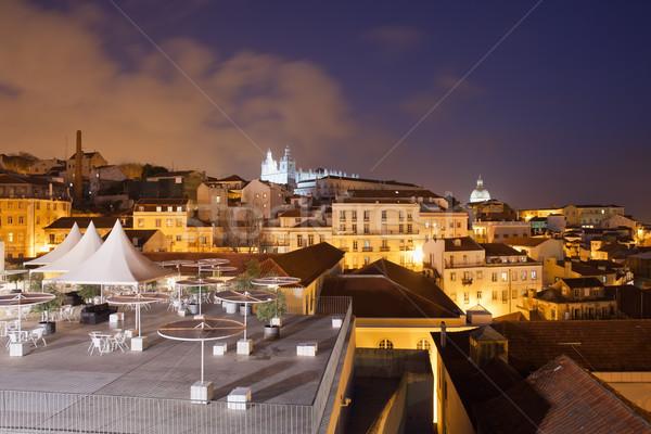 Notte città Lisbona Portogallo casa home Foto d'archivio © rognar