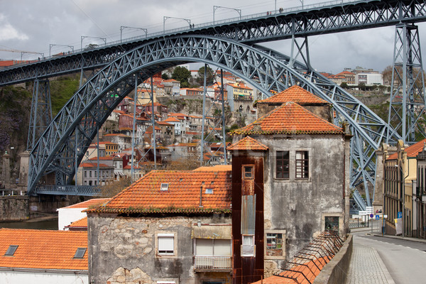 Dom Luis I Bridge in Old City of Porto Stock photo © rognar