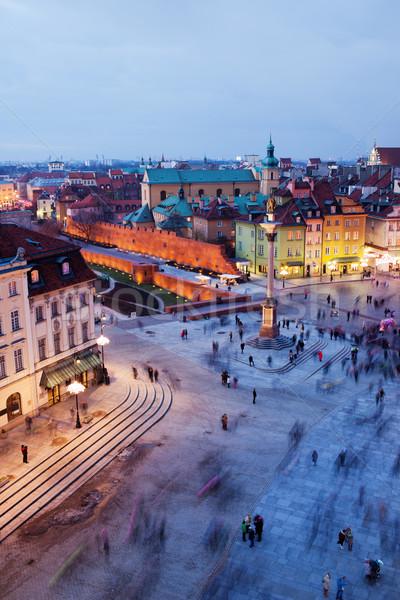 Castello piazza Varsavia sera città vecchia Polonia Foto d'archivio © rognar